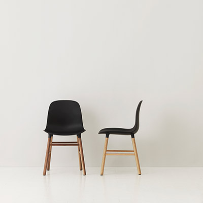 Form chair black and oak or walnut frame