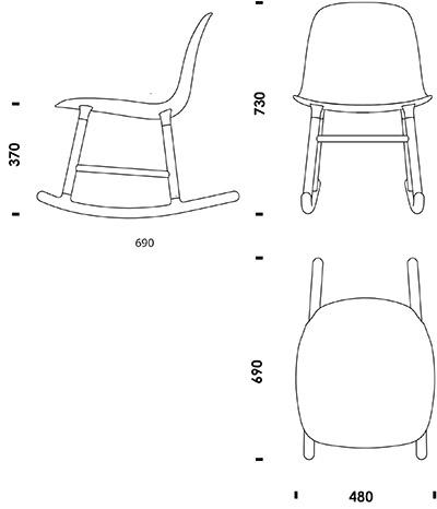 Rocking chair drawing Comfortable Form Chair Rocking Normann Copenhagen Download 2d 3d Cad Files