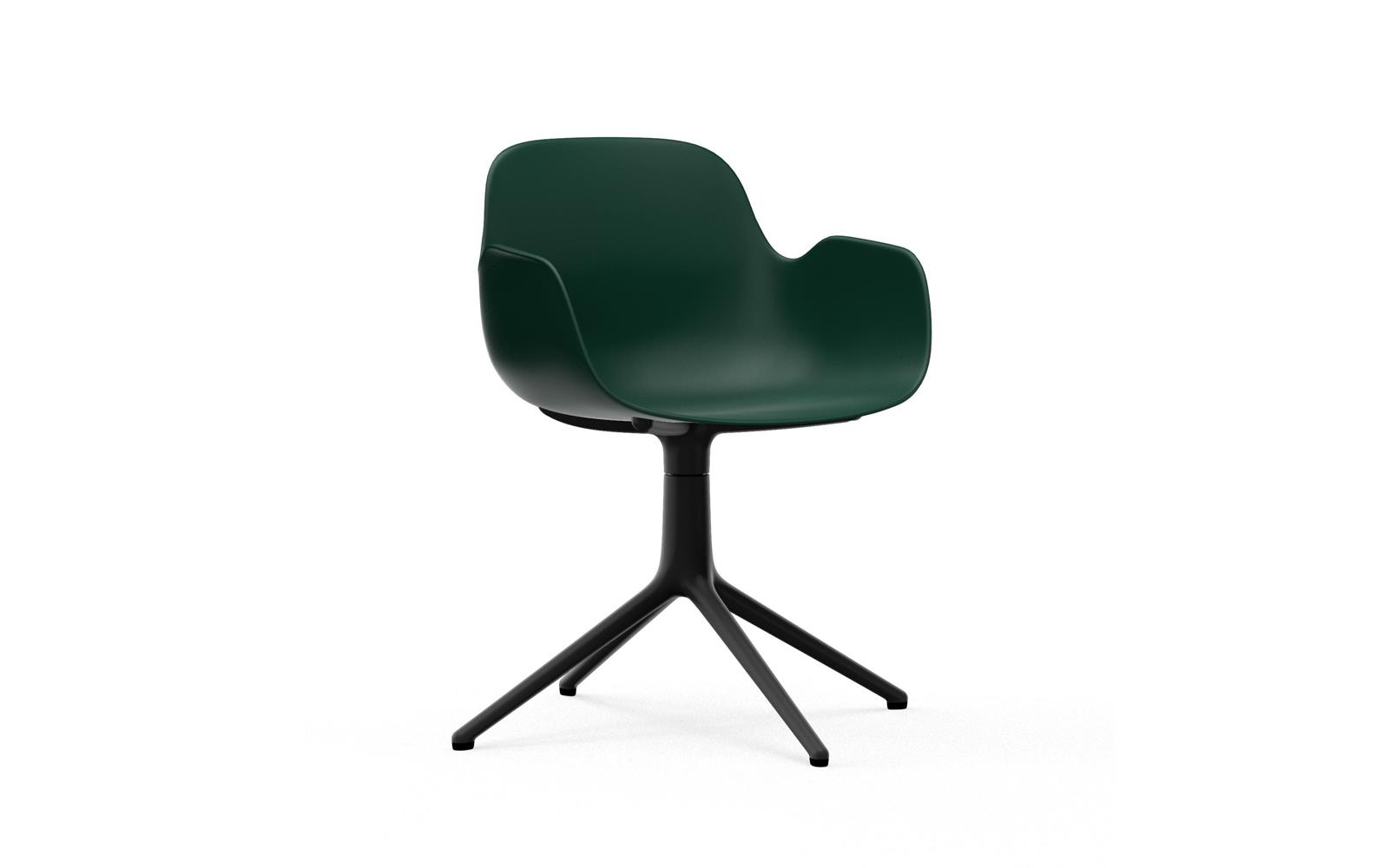 Form Armchair Swivel 4L Black Alu Green