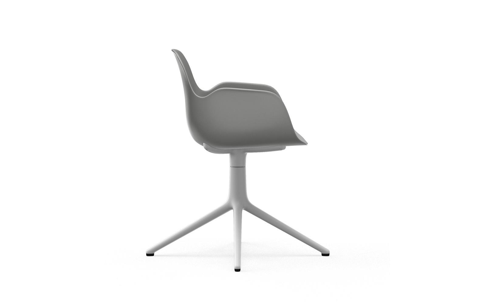 Form Armchair Swivel 4L White Alu3