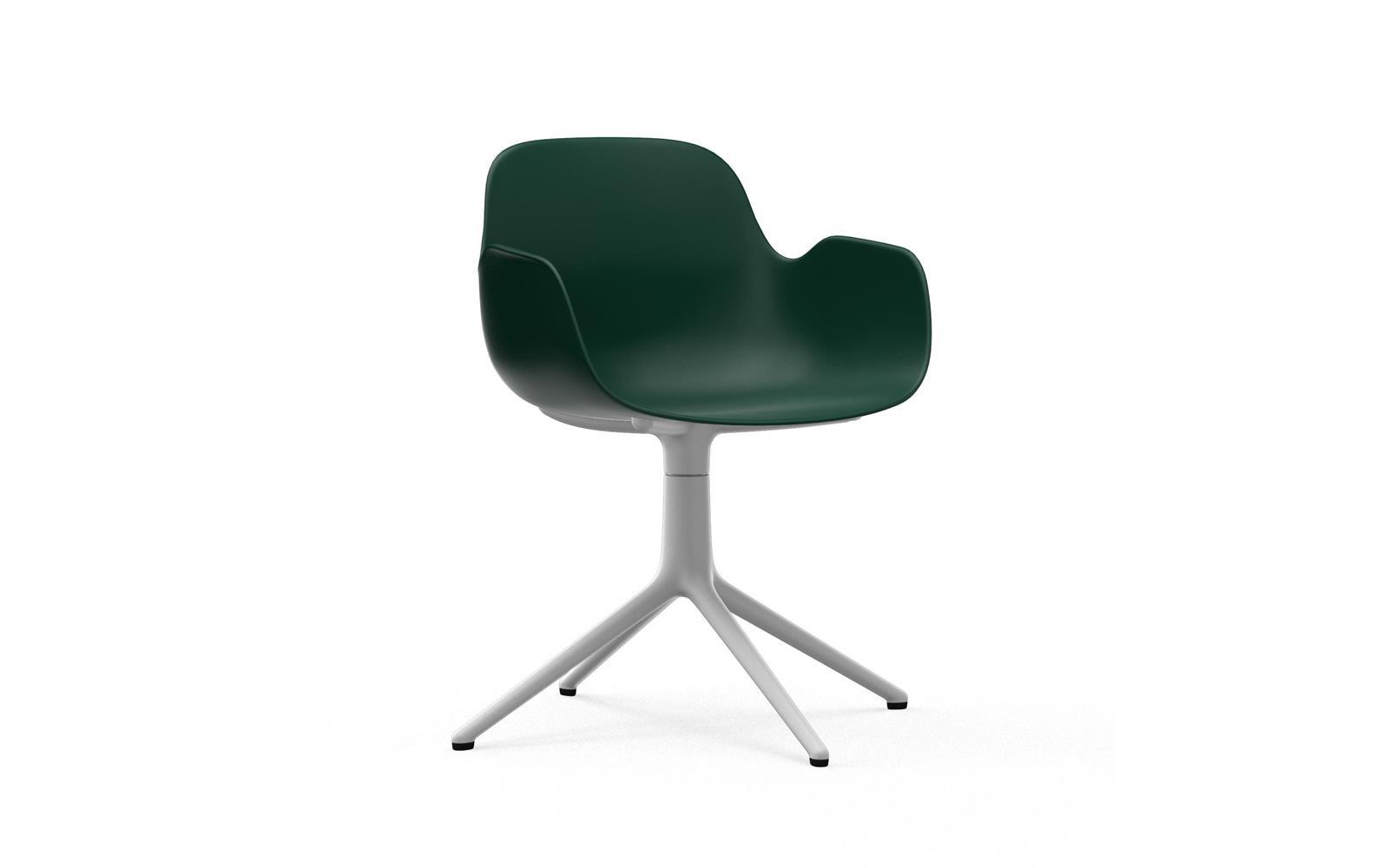 Form Armchair Swivel 4L White Alu Green