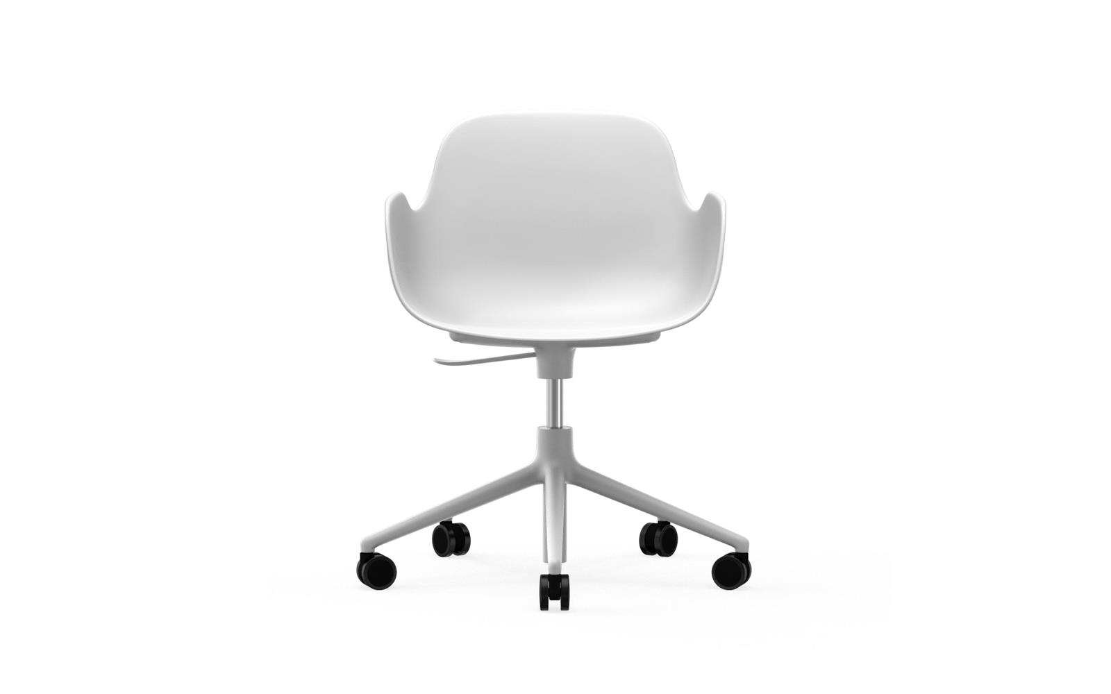 Form Armchair Swivel 5W Gaslift White Alu2