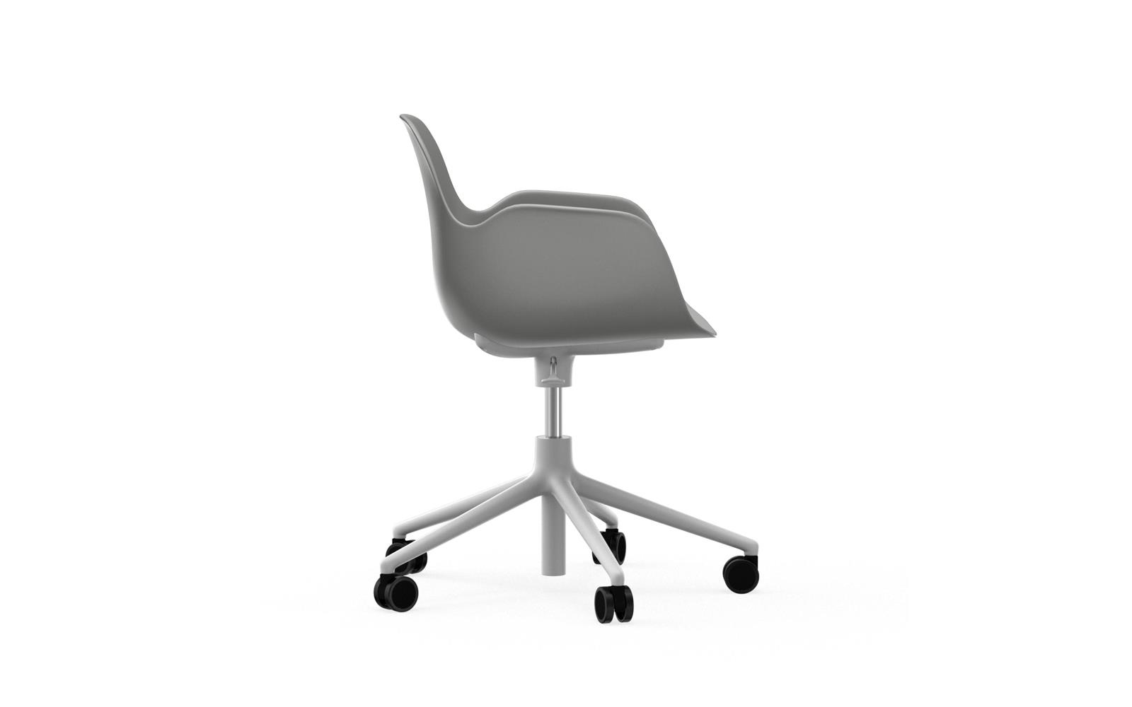 Form Armchair Swivel 5W Gaslift White Alu3
