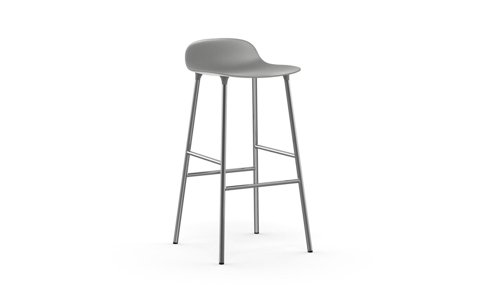 Form Barstool Molded Plastic Shell Chair With Chrome Legs