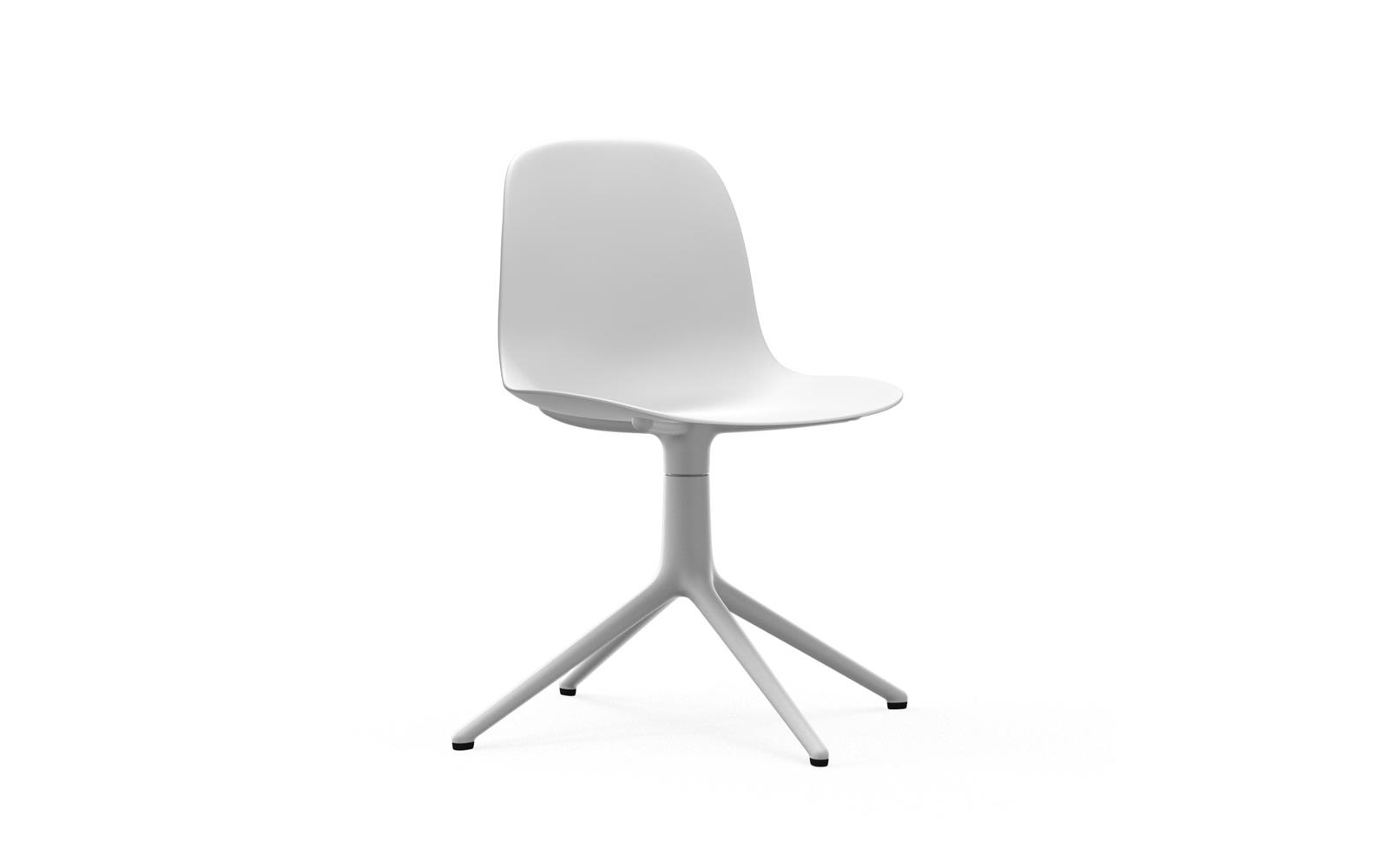 Weißer Form Stuhl mit Drehgestell | Design Stuhl