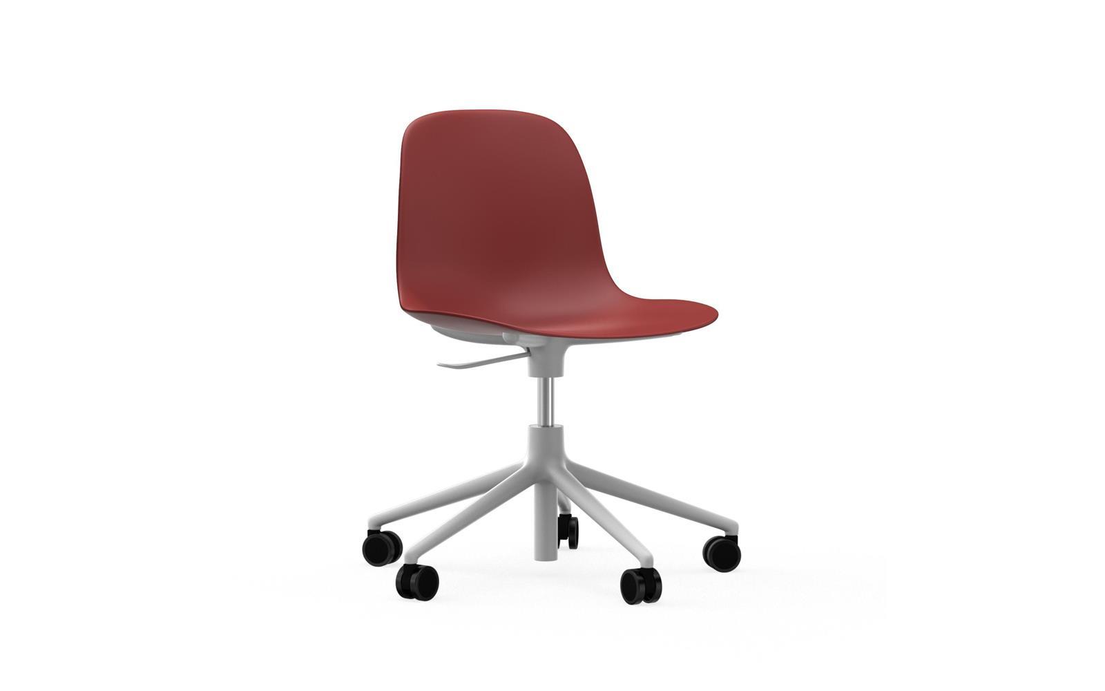 Form Chair Swivel 5w Gaslift White Alu Red
