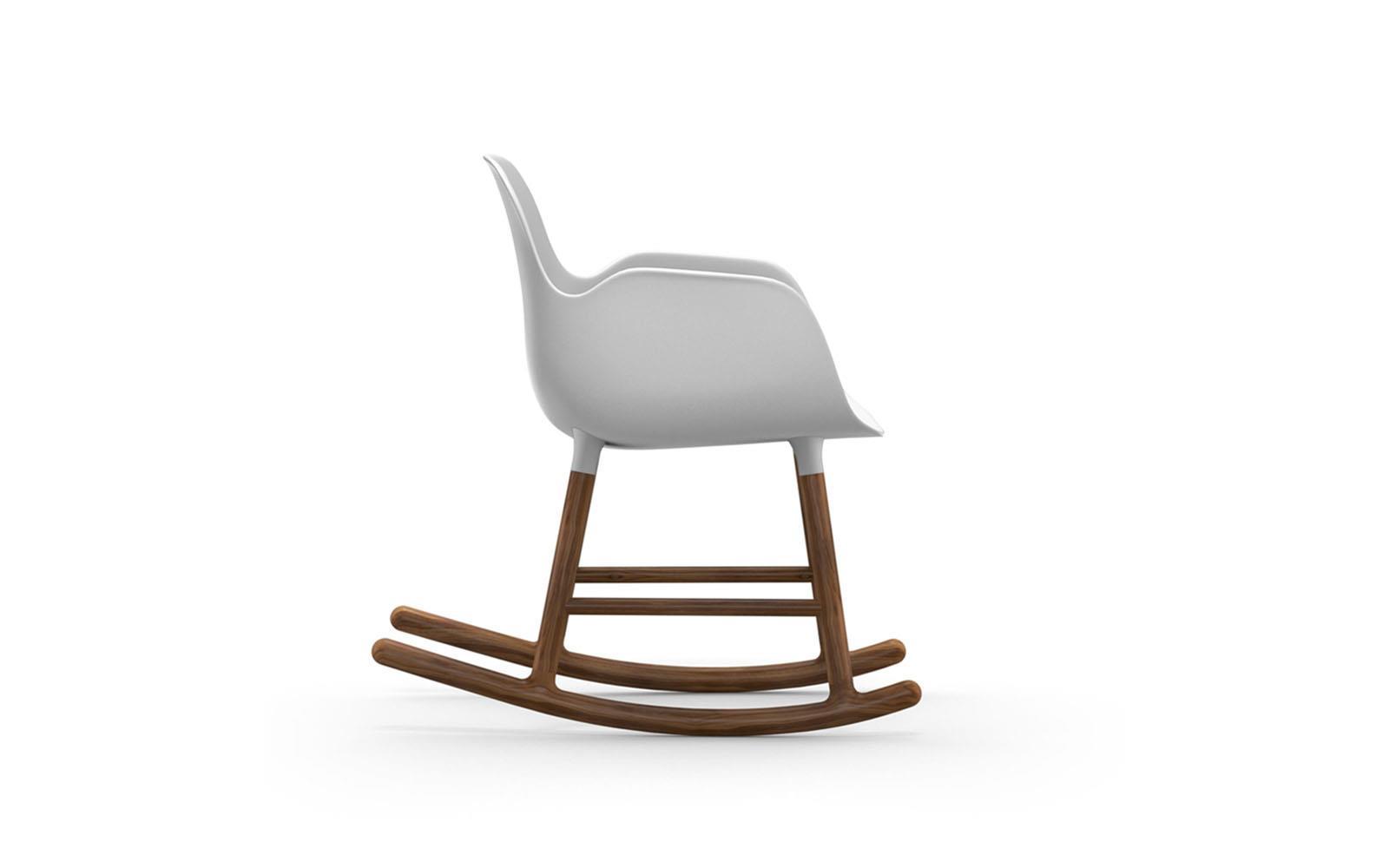 Form Rocking Armchair Walnut White