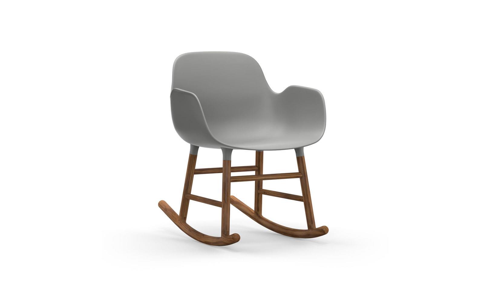 Form Rocking Armchair Walnut Grey