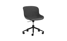 Hyg Chair Swivel 5W Gaslift Front Upholstery Black Alu1