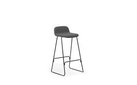 Just Barstool 75 cm w back Full Uph Black Steel1