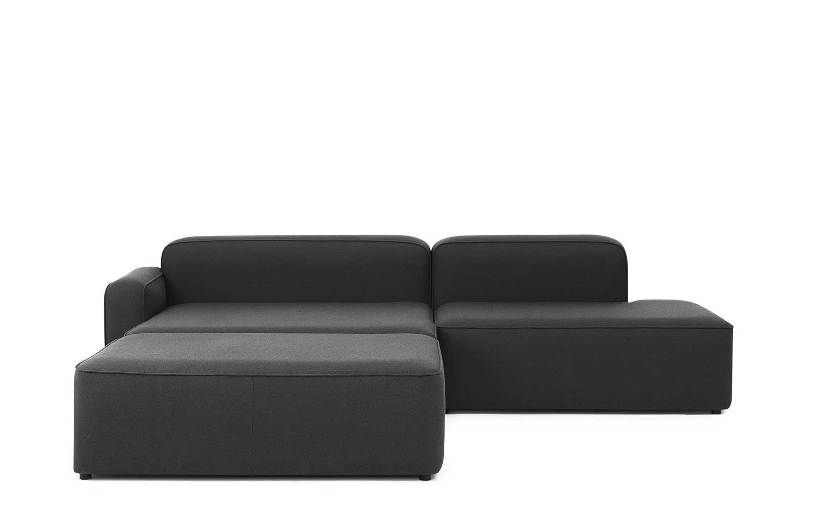 Rope Sofa Chaise Lounge left with Pouf1