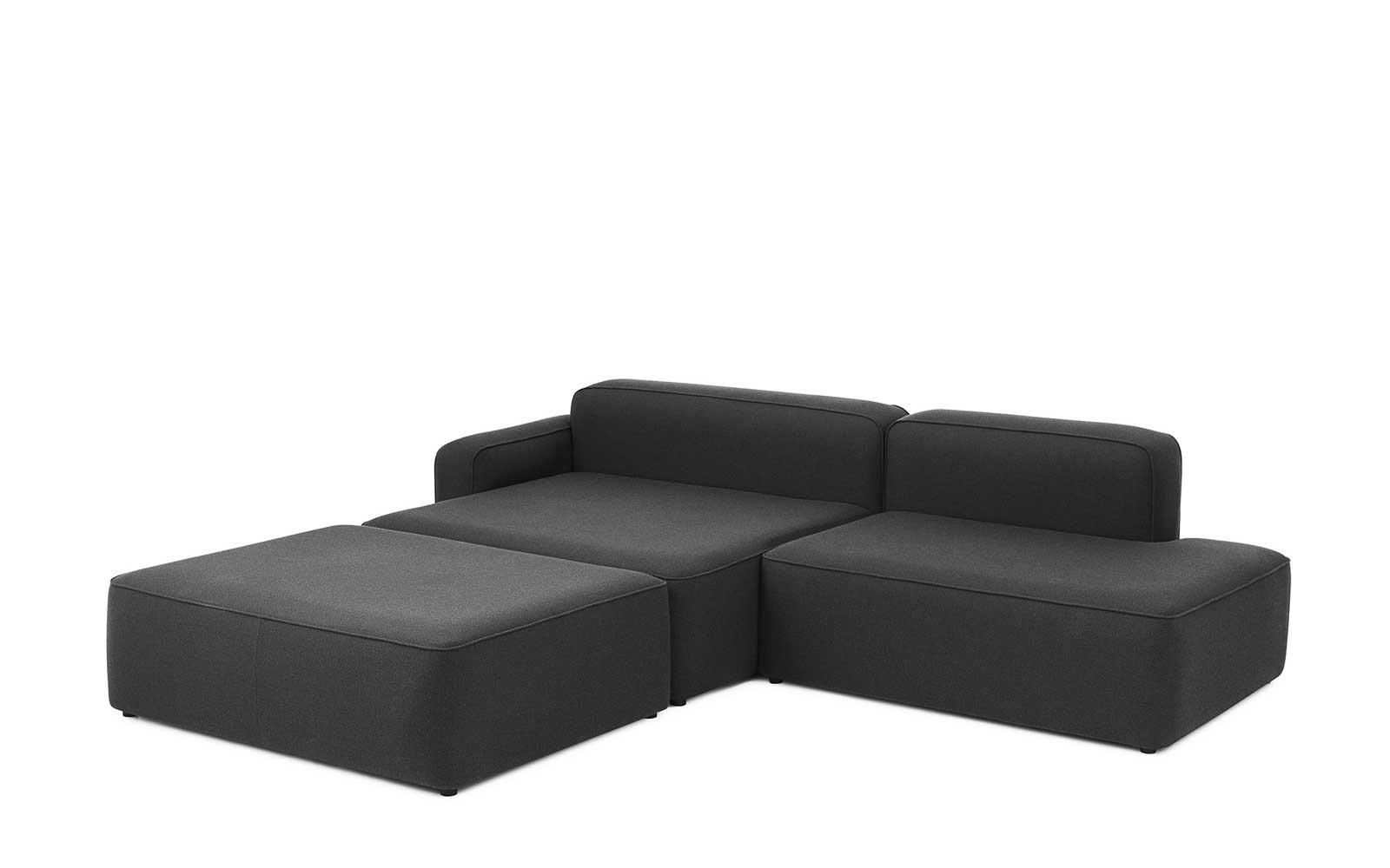 Rope Sofa Chaise Lounge left with Pouf2