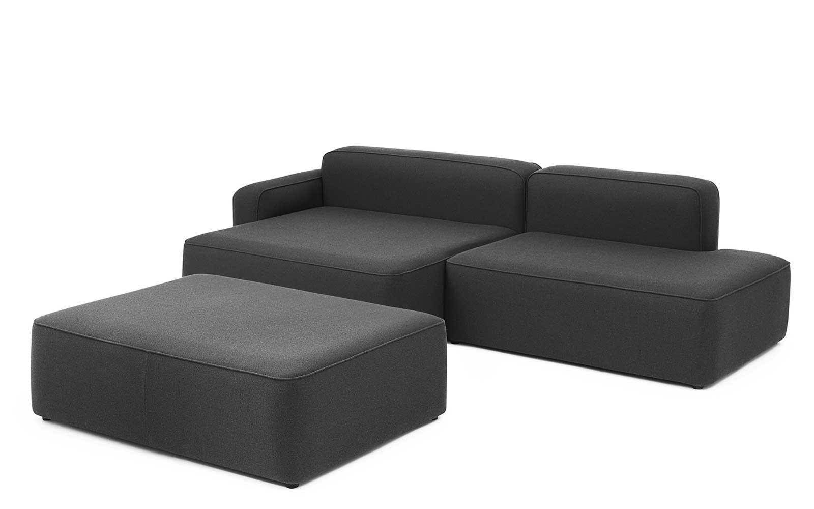 Rope Sofa Chaise Lounge left with Pouf4