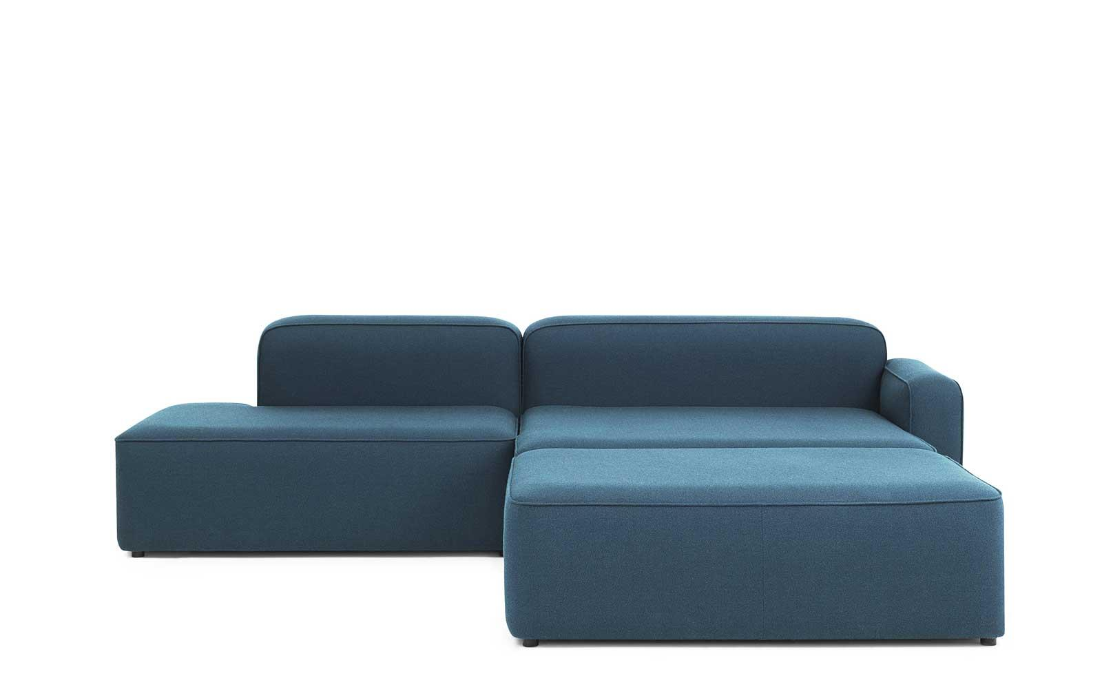 Rope Sofa Chaise Longue Right With Pouf