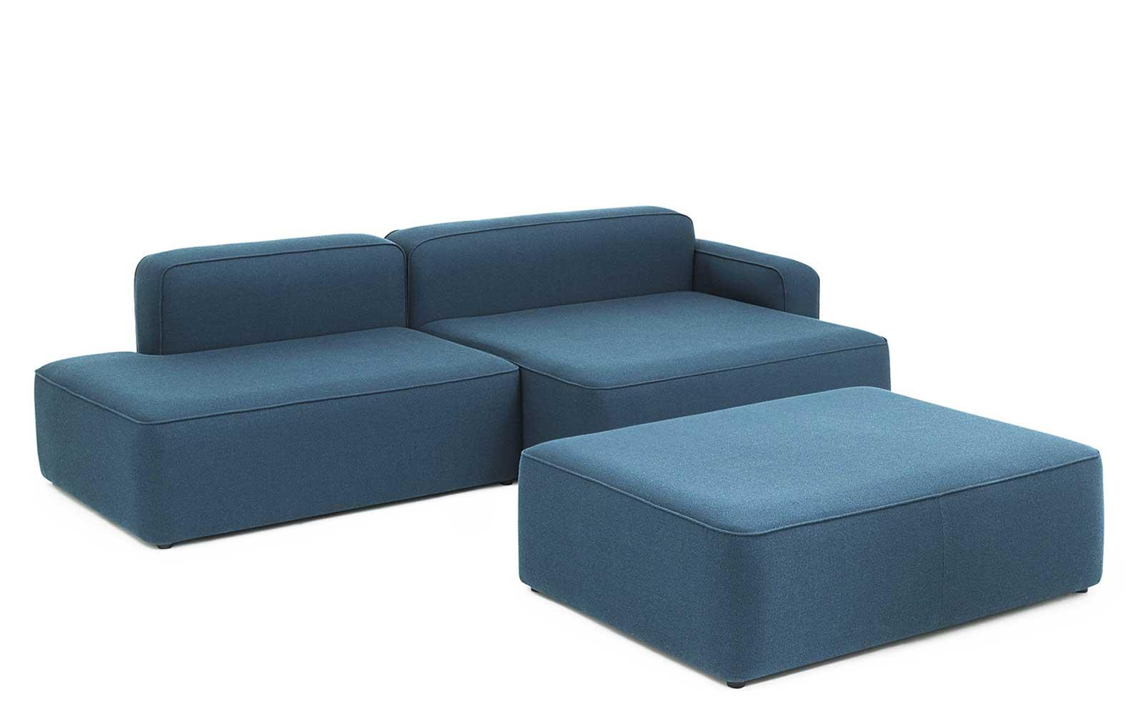 Rope Sofa Chaise Longue Right With Pouf Fame Hybrid