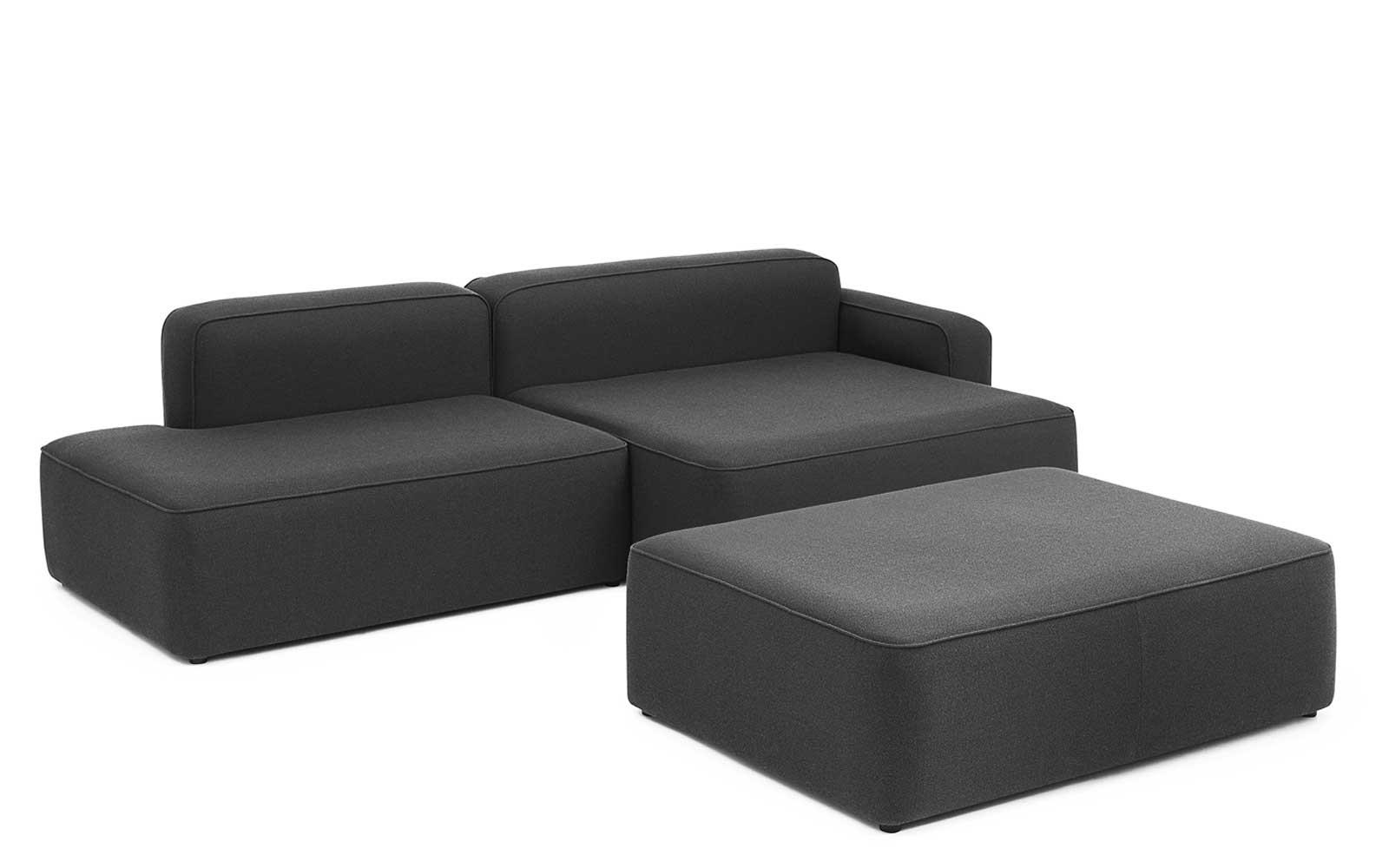 Rope Sofa Chaise Lounge Right With Pouf2