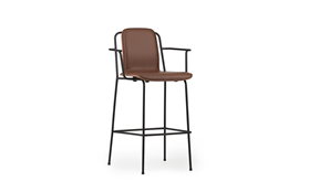Studio Bar Armchair 75 cm Front Uph Black Steel1