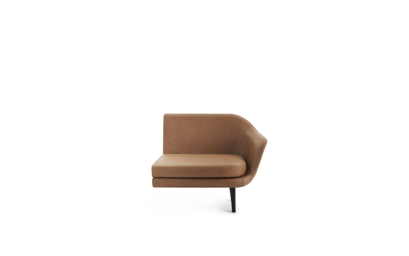 Sum Modular Sofa 120 Right Armrest Black Aluminum Ultra Leather