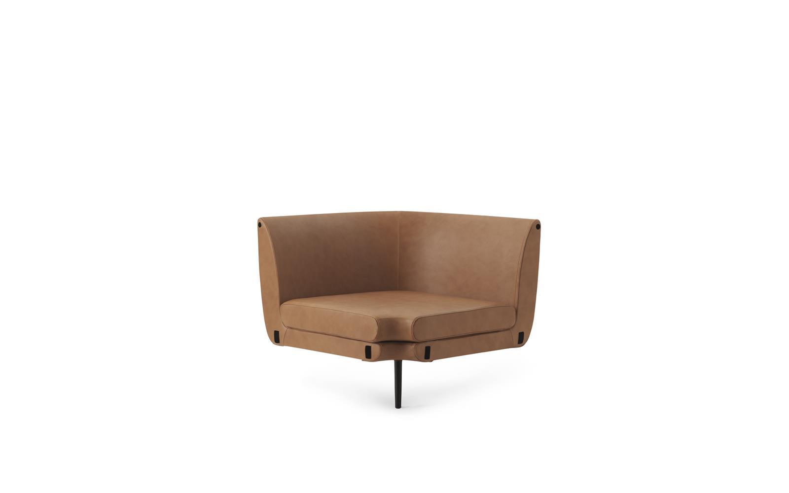 Sum Modular Sofa 150 Corner, Black Aluminum, Ultra Leather