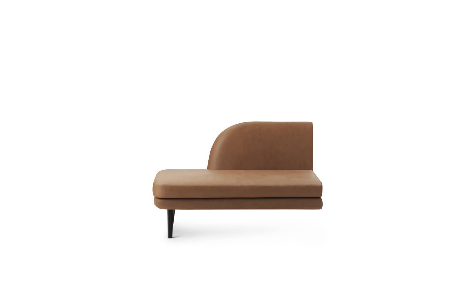Sum Modular Sofa 330 Open Left Side, Black Aluminum, Ultra Leather