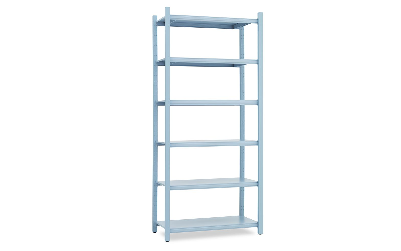Work Bookcase High 4 Pillar Powder Blue