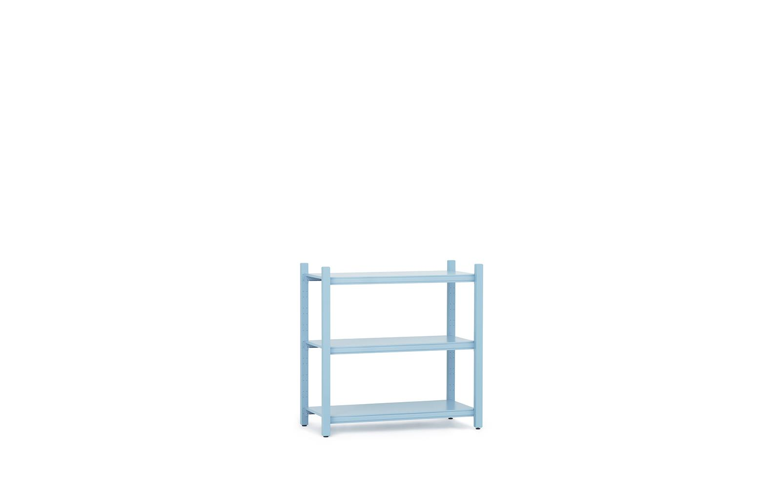 Work Bookcase Low 4 Pillar Powder Blue