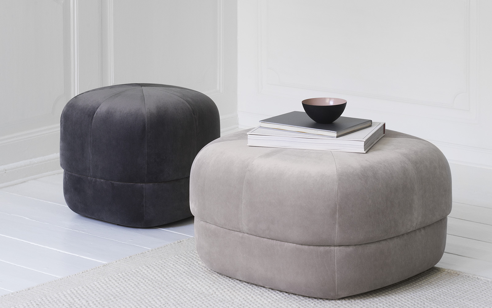 Circus pouf small gray large beige - Normann Copenhagen
