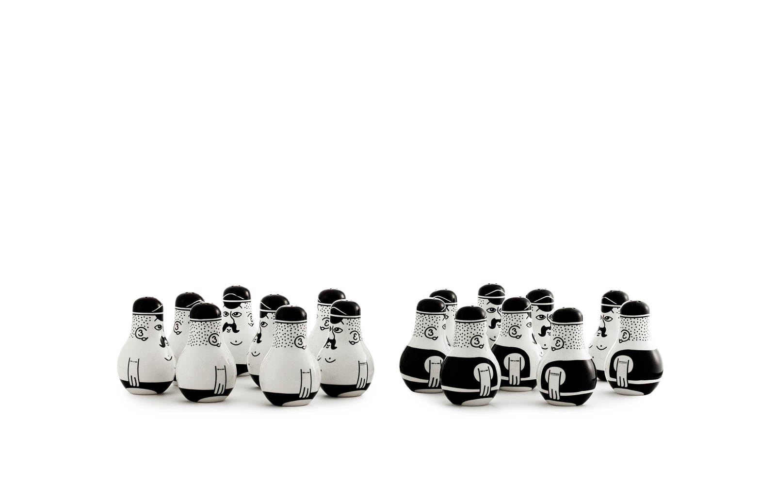 Friends salt and pepper group white background