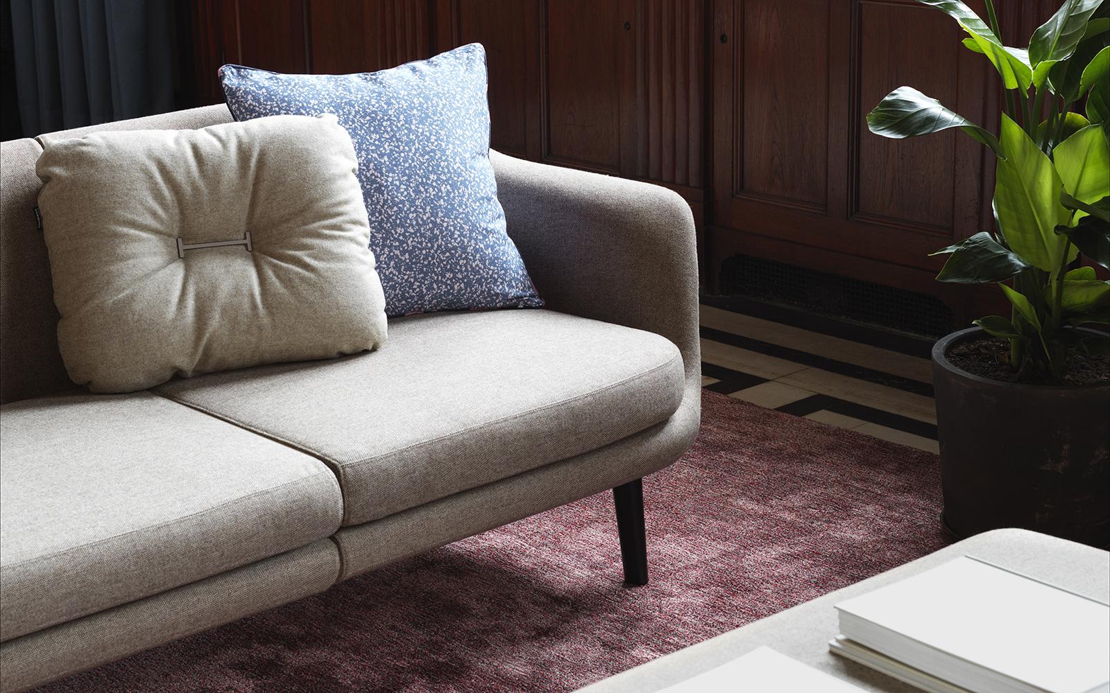 Sum modulares Sofa 150 Ecke, schwarzes Aluminium, Ultra Leder