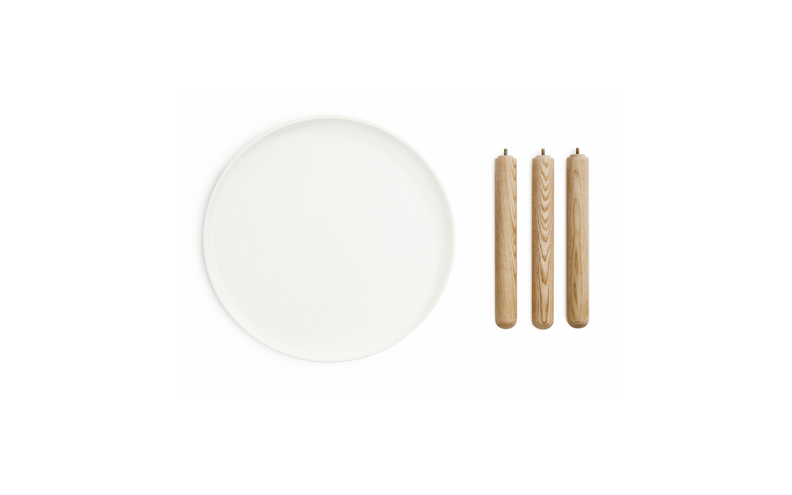 Tablo tables small white topview on a white background parts to assemble