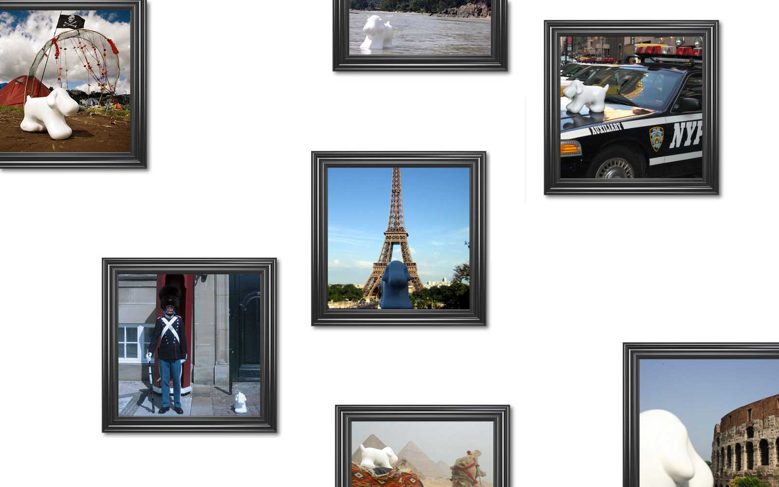 Woofy white around the world picture frames