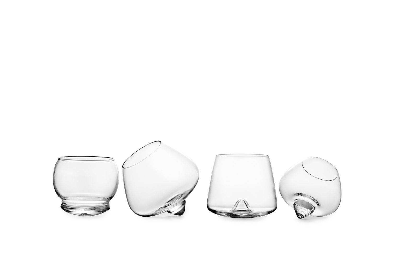 drink series glasses on white background rocking whiskey cognac liqueur  on row
