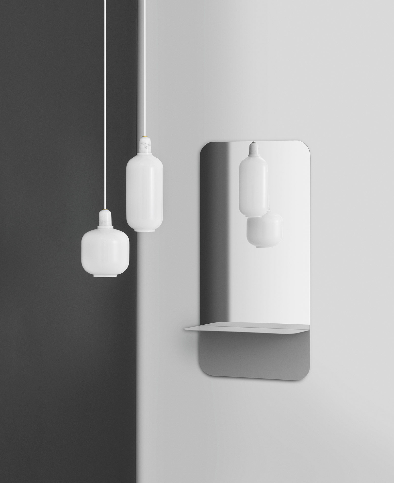 Mood lights amp mood lighting - Amp Pendant Made Of White Opalescent Glass And White Marble