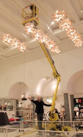 bau lamp a sculptural wooden ceiling lamp of natural elements. Black Bedroom Furniture Sets. Home Design Ideas