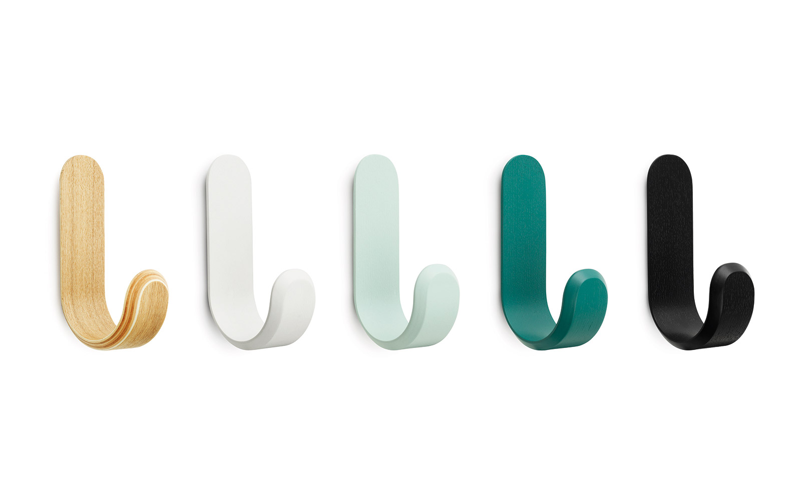 Colorful Wall Hooks curve hooks | wooden hooks in misty green lacquere veneer