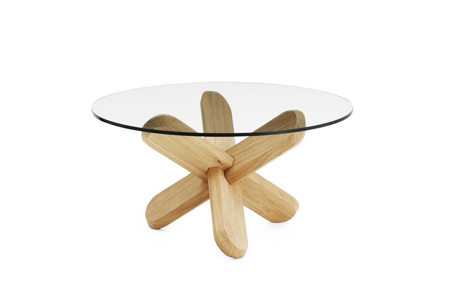 Ding Table A Scuptural Coffee Table In Transparent Glass And Oak