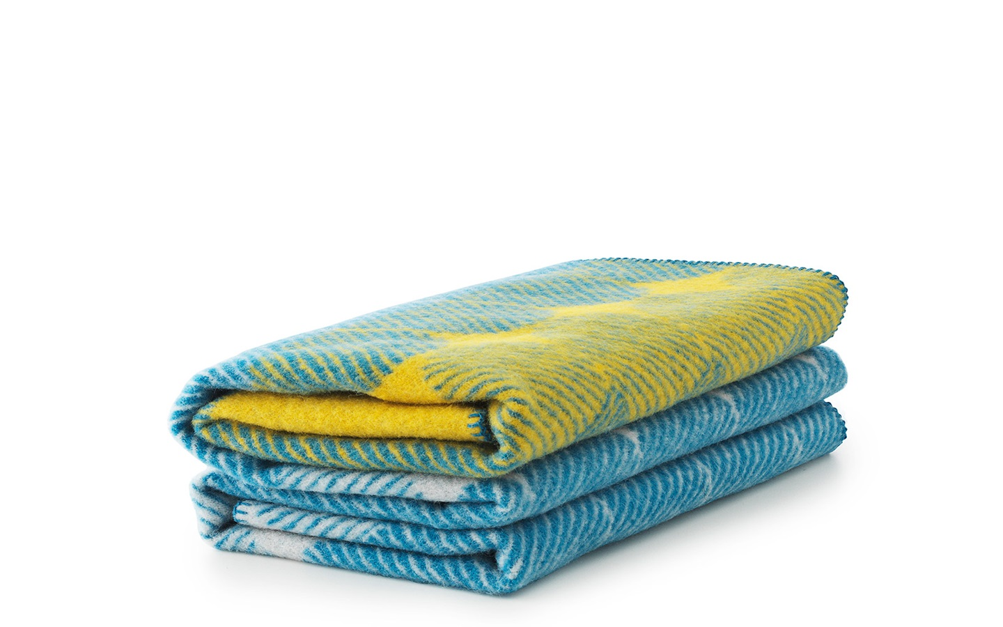 Ekko Throw Blanket Yellow Dusty Blue A Wool Throw With A