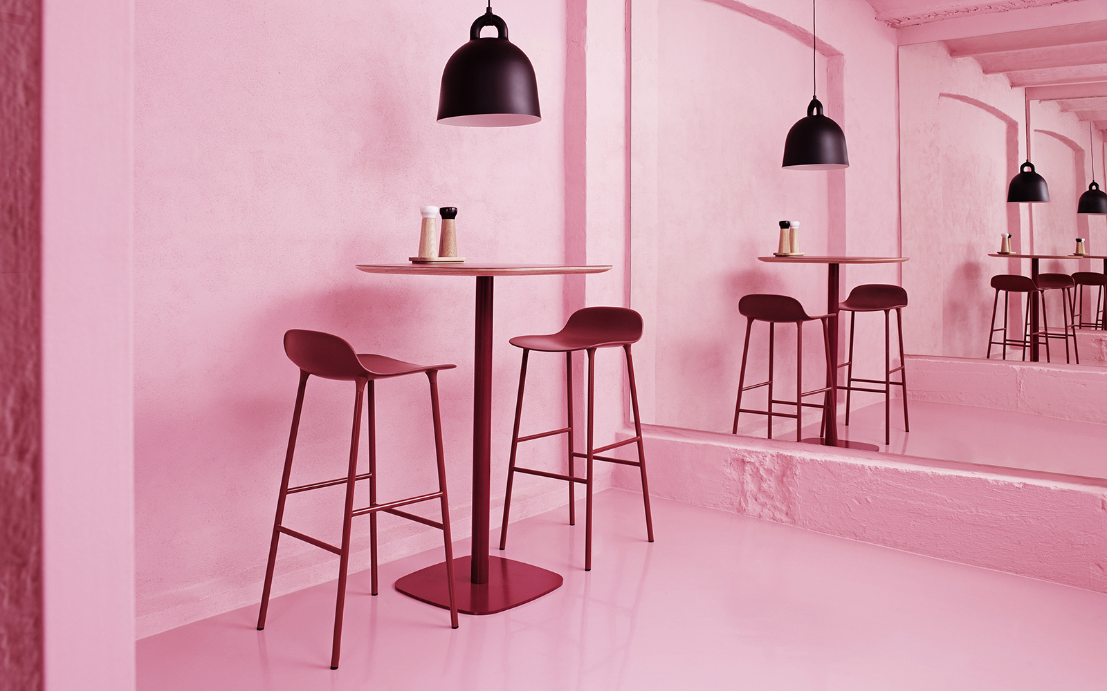 Form Barstool | Molded plastic shell chair with oak legs