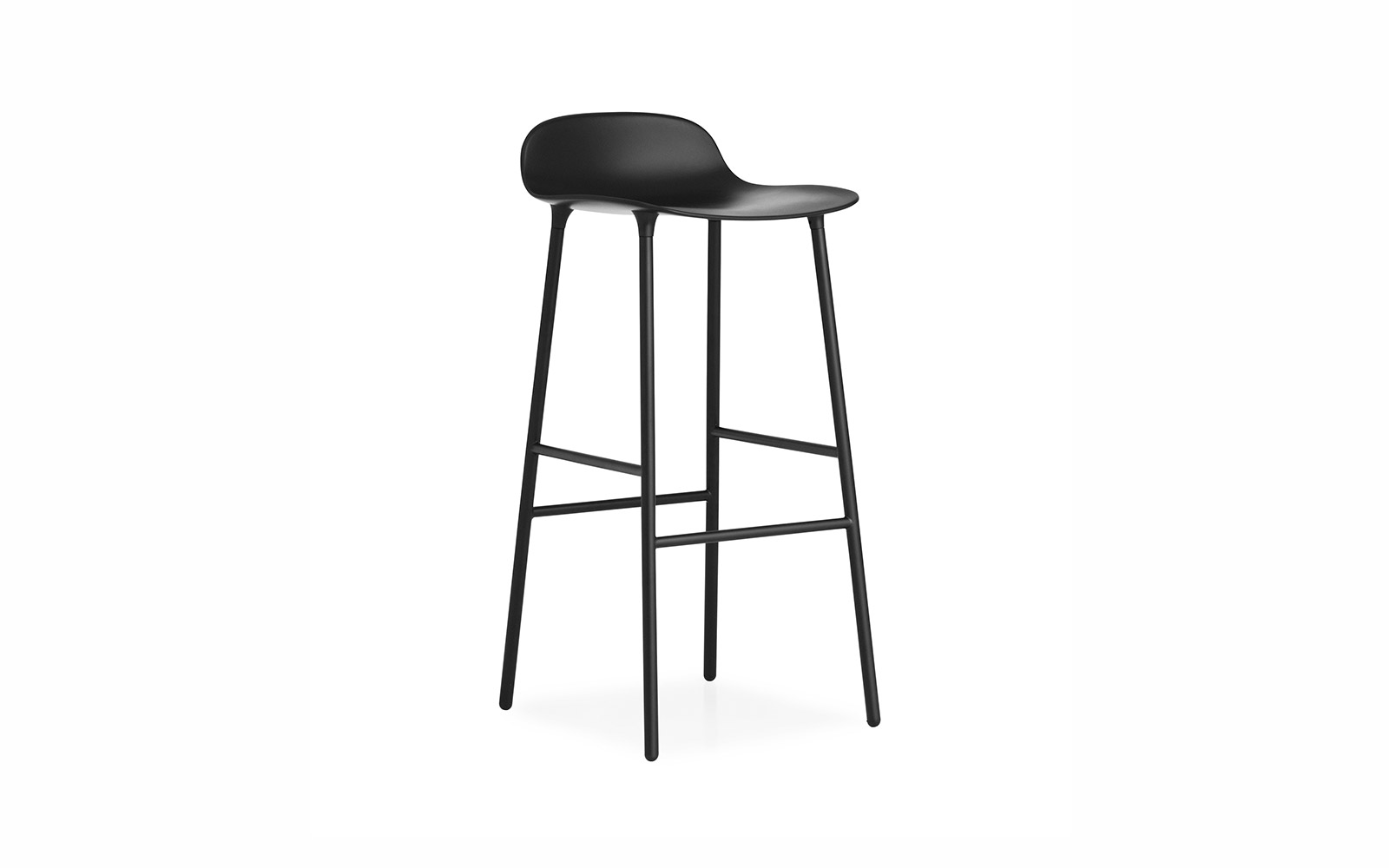 Form Barstool Molded Plastic Shell Chair With Walnut Legs