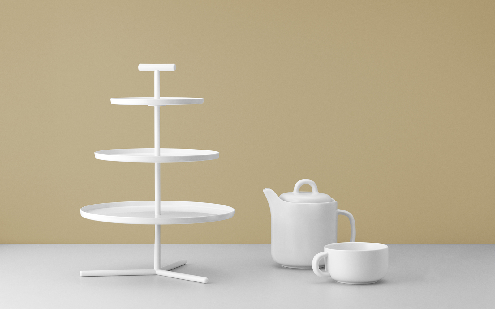 Glaze 3 tier cake stand with a modern expression for Canape display stands