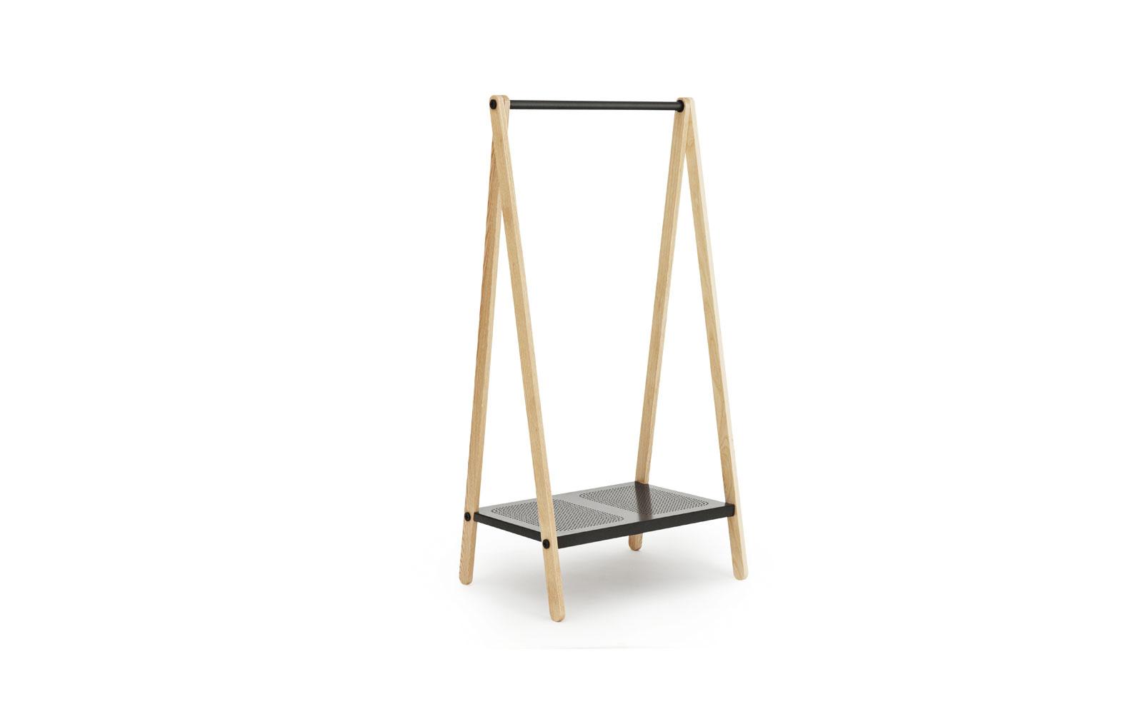 Toj Clothes Rack | Stylish wardrobe furniture in grey steel and ash | Large