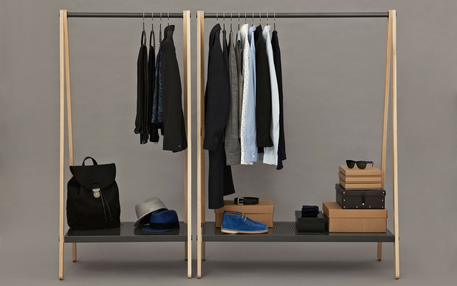 Marvelous photograph of Toj Clothes Rack Stylish wardrobe furniture in grey steel and ash  with #1E3D66 color and 1600x1000 pixels