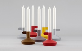 Flag candlelight holder frontview group red brown silver gold yellow function grey background
