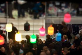 Flagship store lamps in colors people