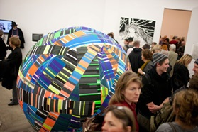 Flagship store giant ball kugle art exhibition and people