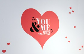 Flagship Store Valentine heart on wall you me