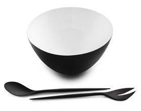 Krenit simple salad set black an a melamine bowl