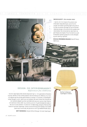 Normann copenhagen, My Chair, Isabellas Country Liv, press clip