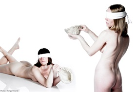 Claydies true feelings naked blindfolded white background