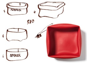Washing up bowl red drawing sketch evolution of the washing bowl